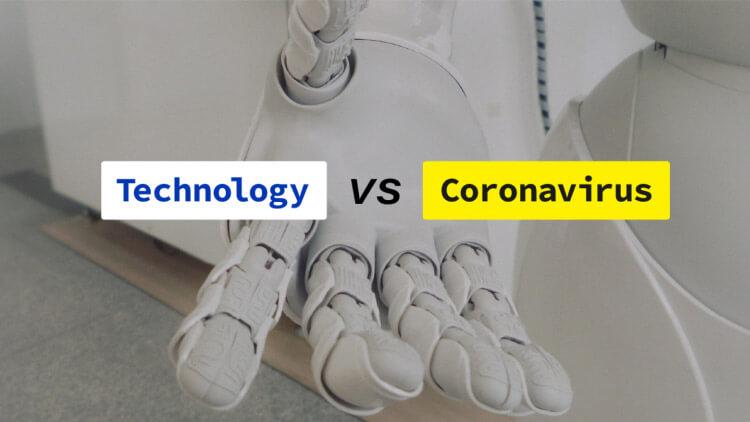 "sam-solutions.us ""technology vs coronavirus"" titles against a robotic hand background."