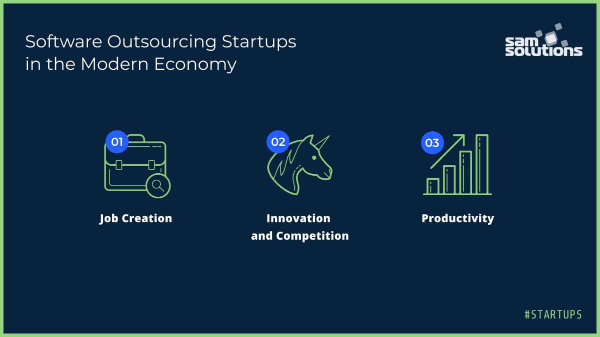 three icons displaying startup roles in the economy