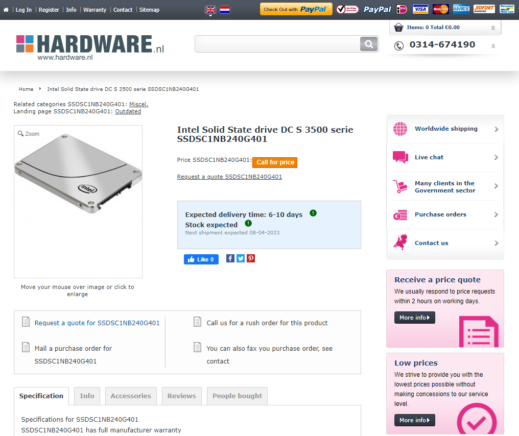 Hardware.NL product page screenshot
