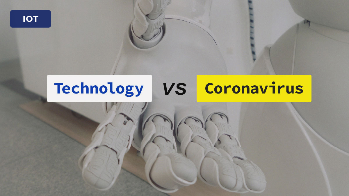 "robotic hand with ""technology vs coronavirus"" text"